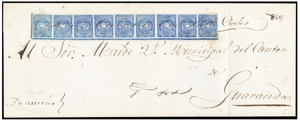 Ecuador 1865 Half Real on Cover