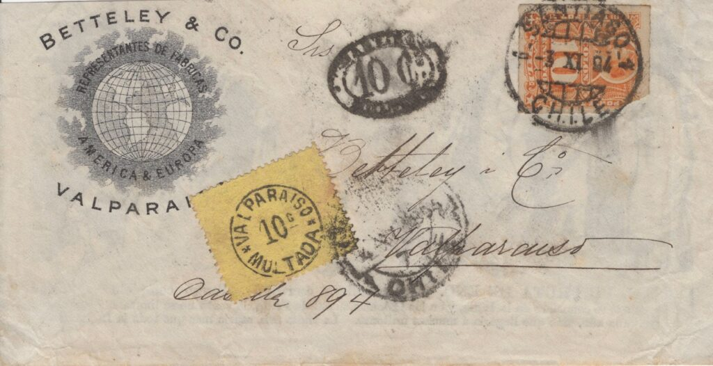1894 letter from Santiago to Valparaiso, showing 10c due handstamp applied in Santiago and multada stamp applied on arrival in Valparaiso