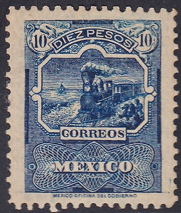 The 10 pesos top value of Mexico's Mail Transportation issue
