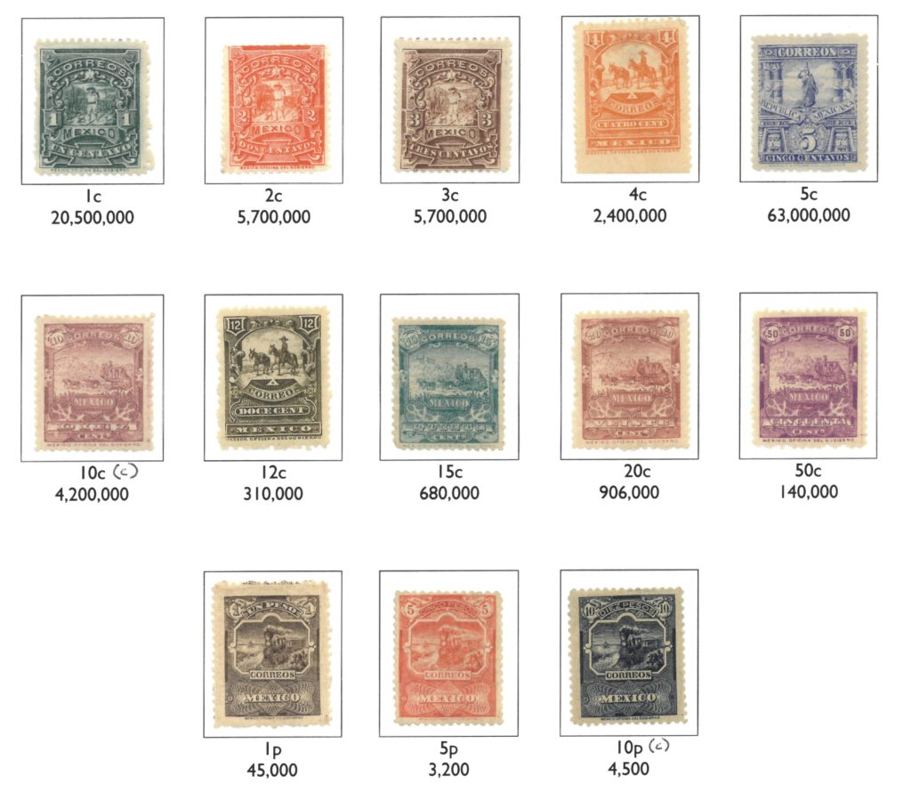 Complete set of the basic 'Mulitas' issue, showing estimated numbers sold