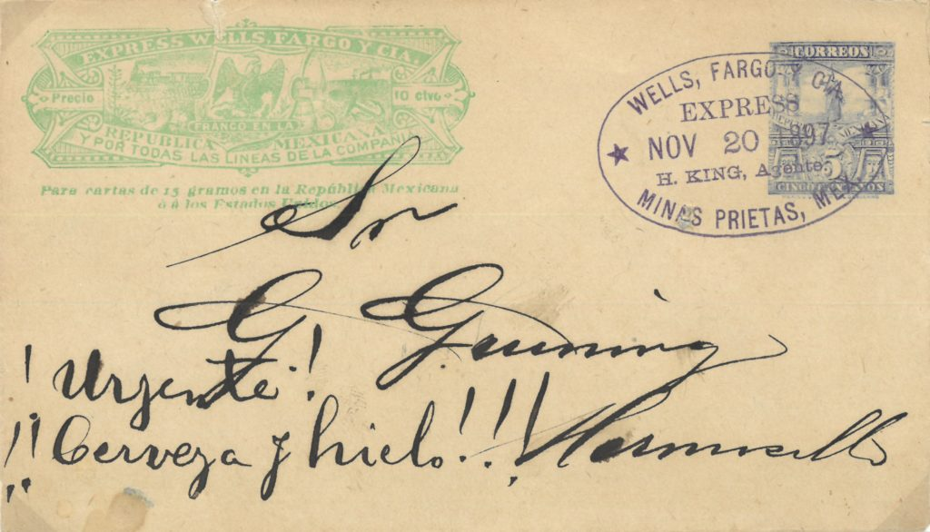 """Urgent – beer and ice!"" 1897 Wells Fargo stagecoach cover"