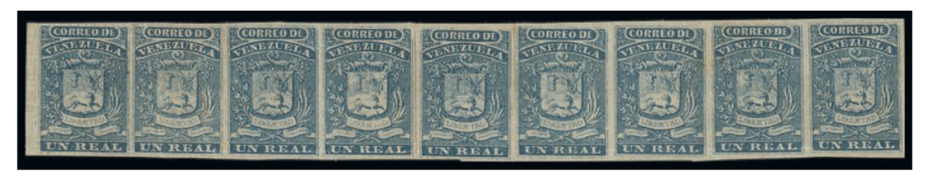 Venezuela 1859 1 Real blue, rejoined strip of nine. The largest known mint strip in private hands. Low estimate €7500