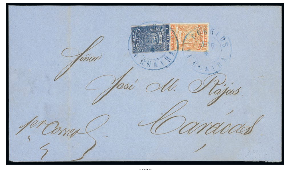 Venezuela 1861 cover with 1 Real blue and Half Real orange affixed. One of only two covers of this bicolour franking recorded