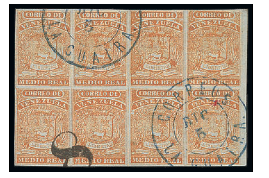 Venezuela 1861-62 Half Real orange, marginal block of eight. Low estimate of €2,500
