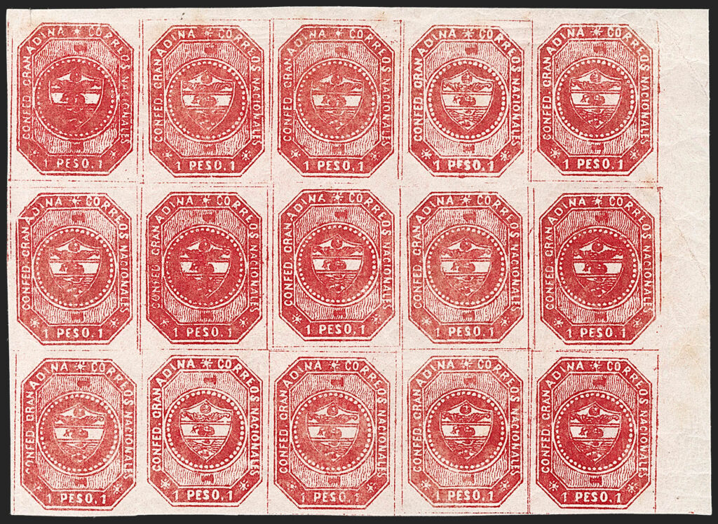 Granadine Confederation 1859 1 Peso Carmine Block of 15, to be auctioned by Siegel on 30th September (est. $3k-$4k)