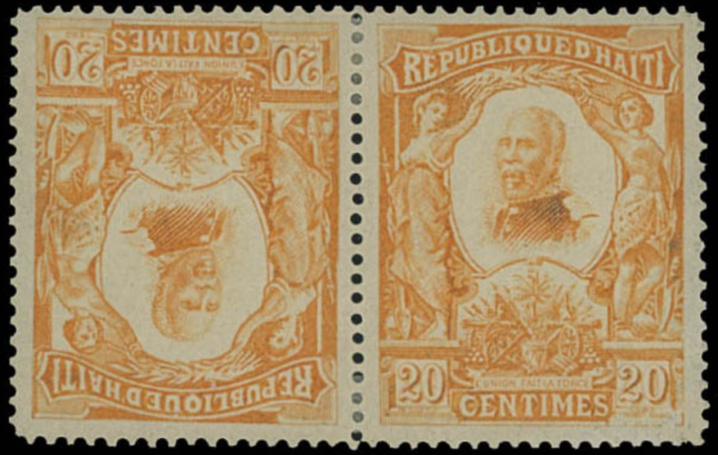 Haiti 1904 Nord Alexis 20c orange tête-bêche pair. From the Leo Malz auction, estimate $750-$1000