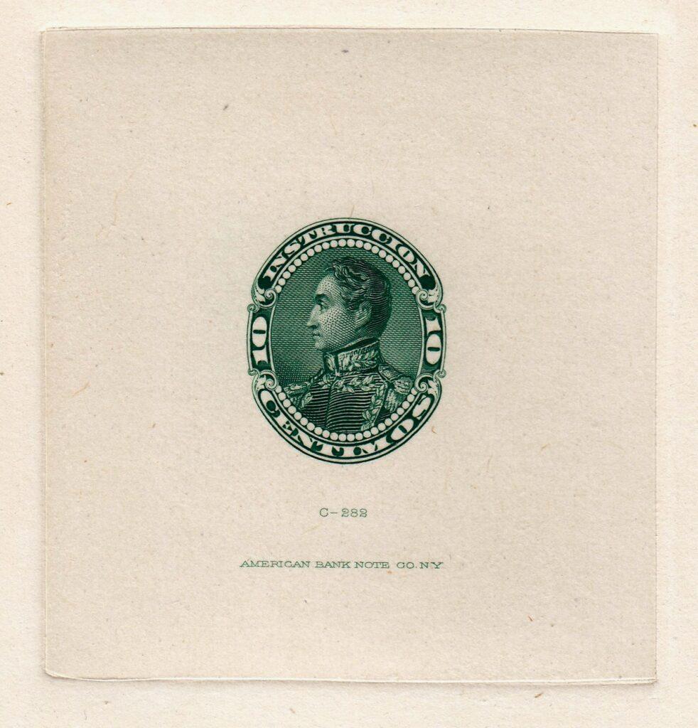 Venezuela 1893 Simon Bolivar 10c Green Sunken Die Proof