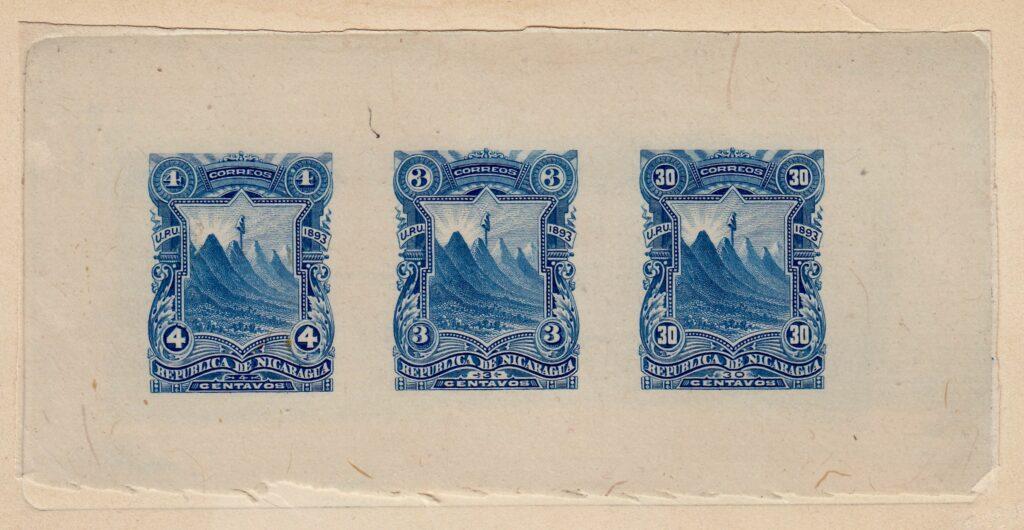 Nicaragua 1893 HBNC Composite Sunken Die Proof of unissued values