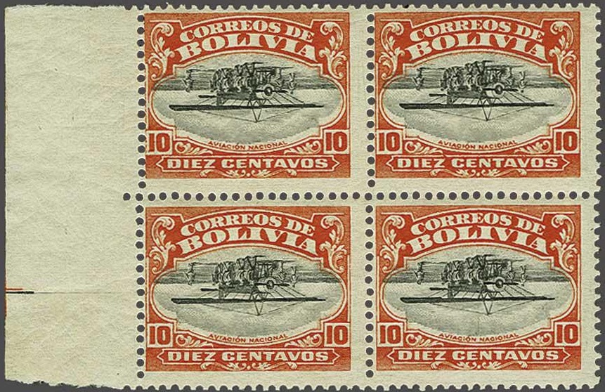 Bolivia National Aviation School 10c Inverted. A block of four from the Brian Moorhouse Part II sale