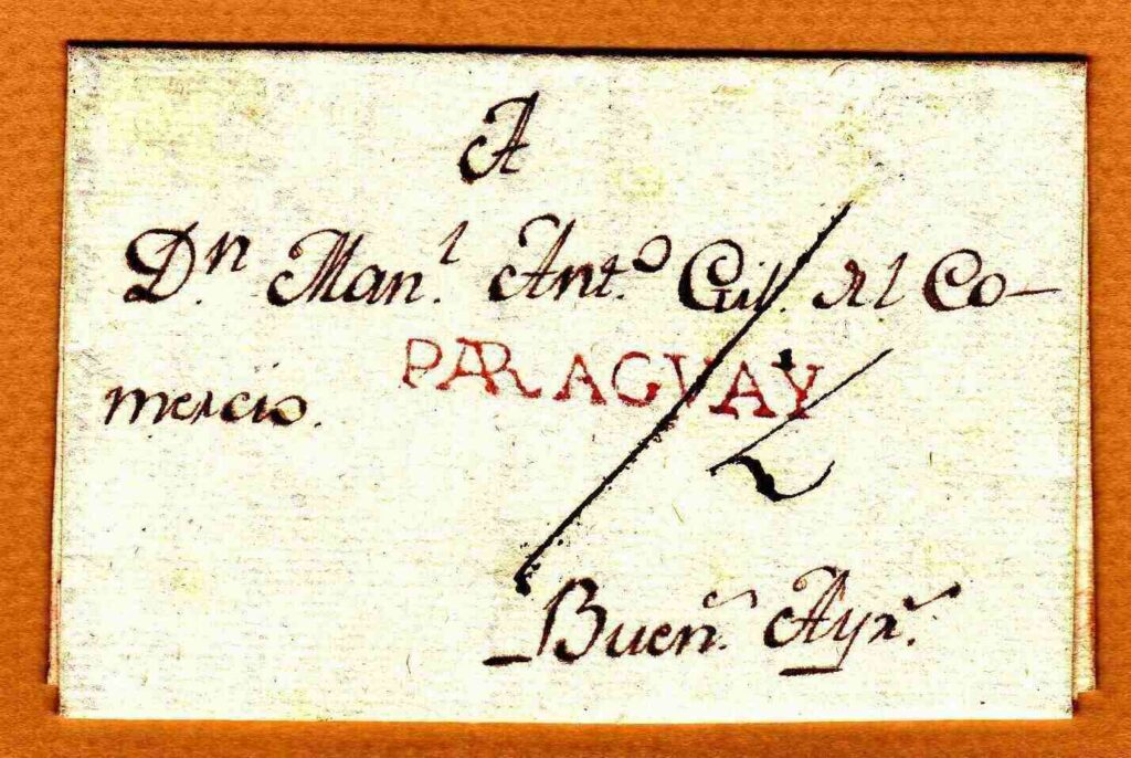 Pre-philatelic entire from 1812 showing the straight line PARAGVAY handstamp in red
