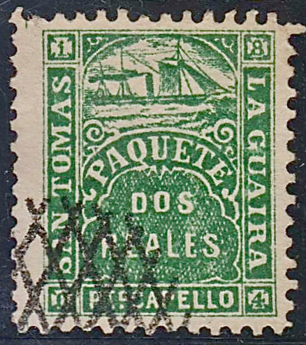 St. Thomas-La Guaira 1864 forgery with distinctive criss-cross forged cancellation.