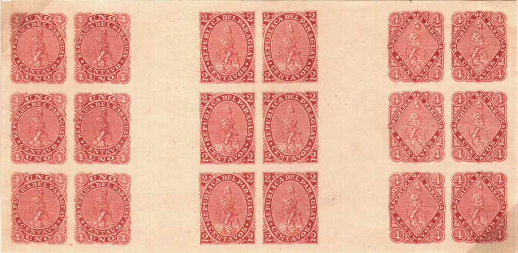 Paraguay 1881 issue - composite proof of transfer blocks of six, used to lay down the plate