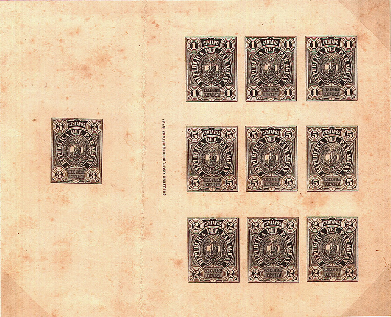 Paraguay 1884 issue - composite proof of transfer strips, plus a single 3c (used on postal stationery)