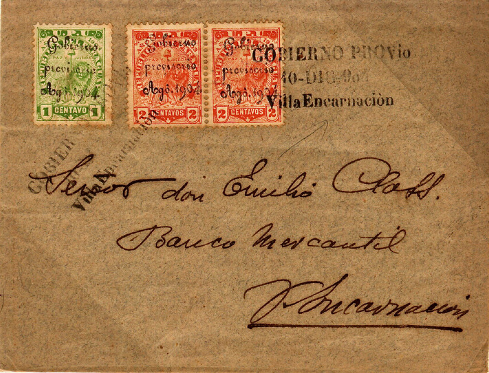 Paraguay 1904 Revolutionary cover. One of four known covers and the only one showing the 5c domestic letter rate