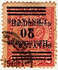 Paraguay 1907-1908 inverted 20c on 5c on 2c Habilitado stamp - the only known copy